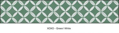 Casart coverings Green & White XOXO-Bookcase Backing_MoRockAnSoul_2x