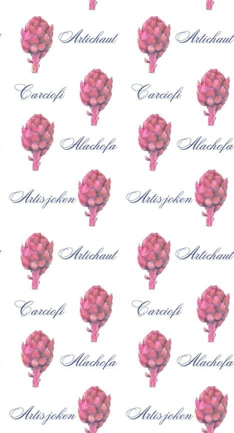 Casart Botanical Pink Artichaut Pattern 2