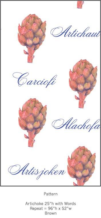 Casart Botanical Brown Artichoke Pattern 4x