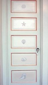 Casart Coverings Faux Plaster Trompe l'Oeil Seashell Panels on Door