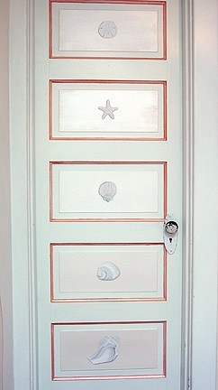 Casart Coverings Faux Plaster Element Trompe l'Oeil Seashell Panels on Door