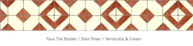 Casart Faux Tile Terracotta & Cream Border_Architectural Detail 1x