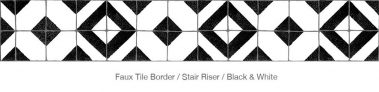 Casart Faux Tile Border Black - White Detail 3x