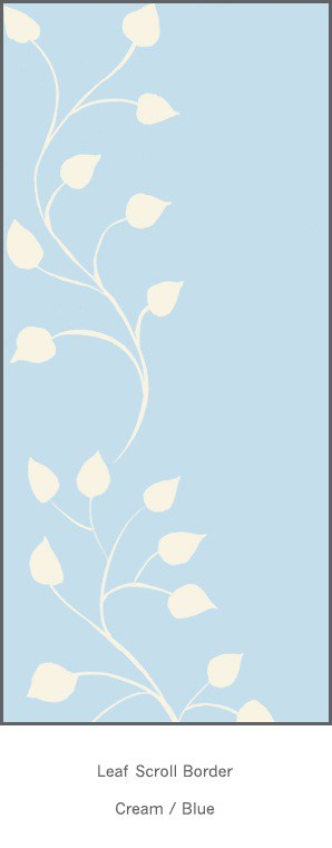 Casart Cream Blue Leaf Scroll - Botanicals 2x