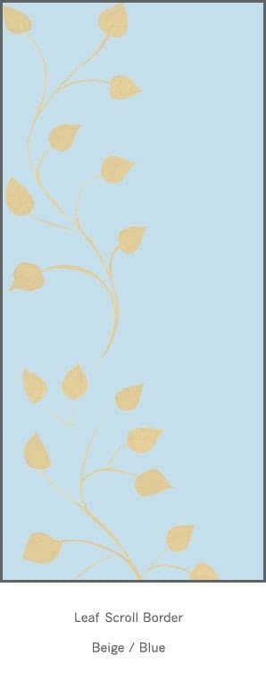 Casart Beige Blue Leaf Scroll - Botanicals 3x