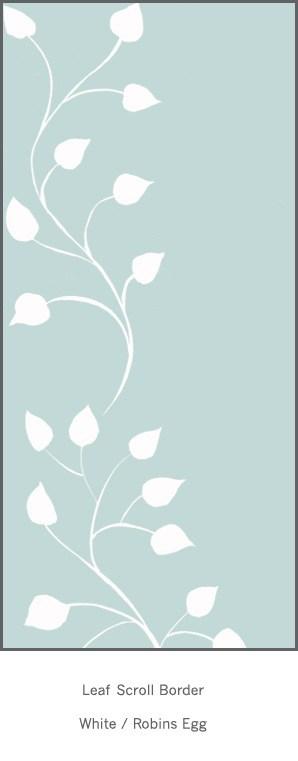 Casart White Robins Egg Leaf Scrol l- Botanicals 4x