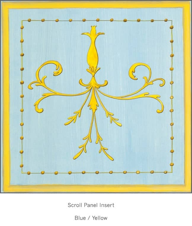 Casart Panel Grotesca Scroll Blue/ Muted Yellow_Architectural Insert 6x Panel Scroll Blue/Yellow Gold_Architectural Insert 1x