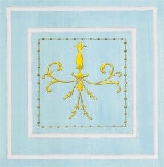 Casart Panel Grotesca Scroll Blue/ Muted Yellow_Architectural Insert 6x Panel Scroll Blue/White_Architectural Insert 2