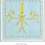 Casart Panel Grotesca Scroll Blue/ Muted Yellow_Architectural Insert 6x Panel Scroll Blue/White_Architectural Insert 2x