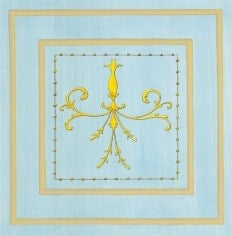 Casart Panel Grotesca Scroll Blue/ Muted Yellow_Architectural Insert 6x Panel Scroll Blue/Gray_Architectural Insert 3