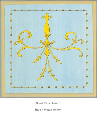 Casart Panel Grotesca Scroll Blue/ Muted Yellow_Architectural Insert 6x Panel Scroll Blue/Gray_Architectural Insert 3x