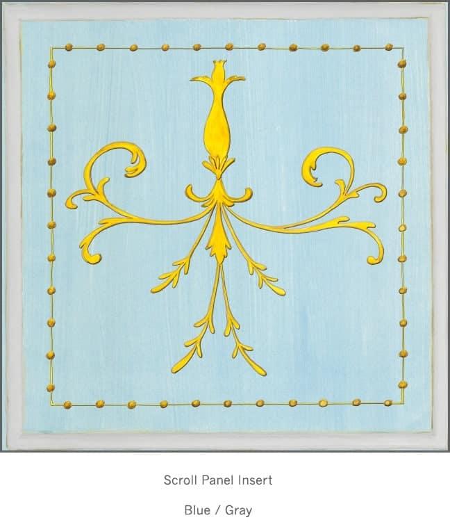 Casart Panel SGrotesca croll Blue/ Gray_Architectural Insert 6x Panel Scroll Blue/Gray_Architectural Insert 4x