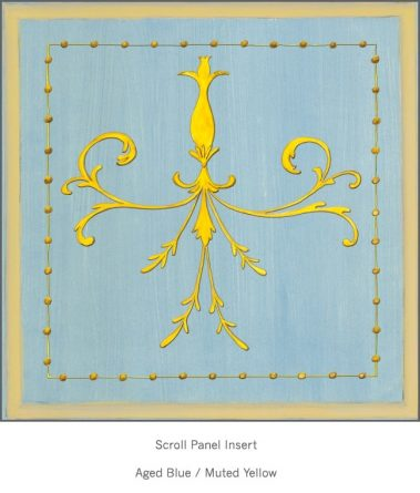 Casart Panel Grotesca Scroll Aged Blue/Muted Yellow_Architectural Insert 6x Panel Scroll Aged Blue/Brown_Architectural Insert 6x