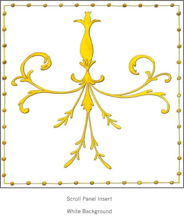 Casart Panel Grotesca Scroll White Insert_Architectural_8x