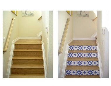 Casart Stair Faux Tiles removable wallpaper before and after