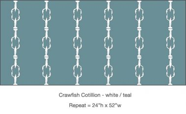 Casart_ Crawfish-Cotillion White Teal_Gulf Coast Design_12x