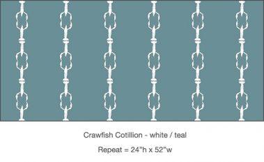 Casart_ Crawfish-Cotillion White Teal_Gulf Coast Design_12x