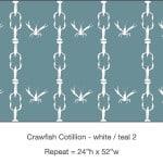 Casart_Crawfish-Cotillion White Teal - Gulf Coast Design 2 _13x