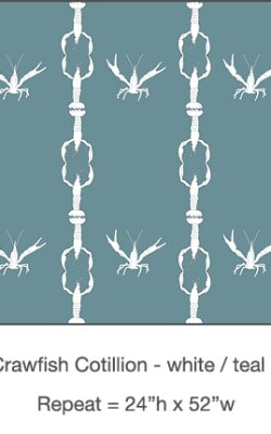 Casart_Crawfish-Cotillion White Teal - Gulf Coast Design 2 _13x