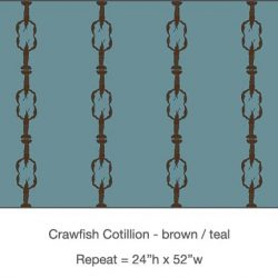 Casart_Crawfish-Cotillion Brown Teal_14x