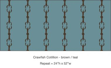 Casart_Crawfish-Cotillion Brown Teal_14x