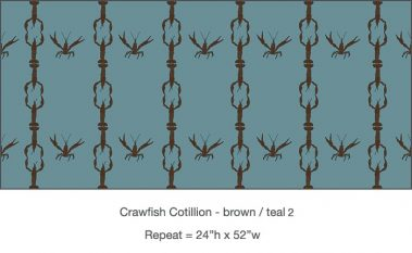 Casart_Crawfish-Cotillion Brown Teal 2_15x