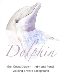 Casart Gulf Coast Dolphin removable wallpaper Panel white & wording_3x