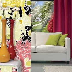 Casart Coverings Flower Power removable wallpaper_RmView with sofa_2_alt