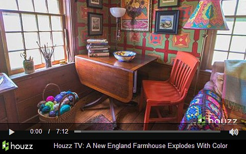Link to Houzz video: New England Farmhouse explodes with color