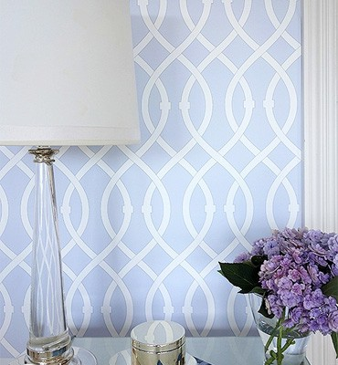 Libby Langdon's Lively Lattice in Icy Blue Casart coverings temporary wallpaper