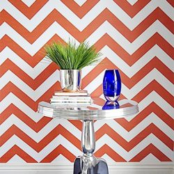 Libby Langdon's Chic Chevron in Orange Fire_Casart coverings temporary wallpaper