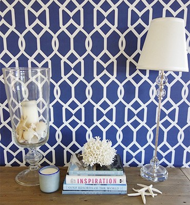 Libby Langdon's Groovy Gate in midnight navy_Casart coverings temporary wallpaper