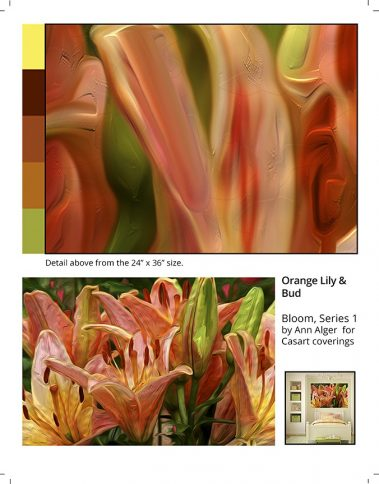 Casart Coverings_Ann Alger sample2-Orange Lily_removable wallpaper