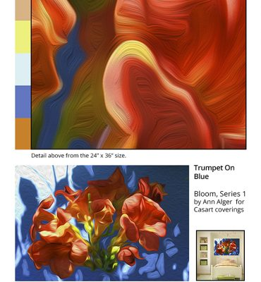 Casart coverings Ann Alger sample2 Trumpet on Blue_removable wallpaper