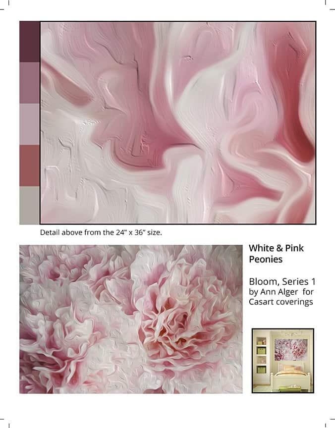 Casart coverings_Ann Alger sample2-White Pink Peonies_temporary wallpaper