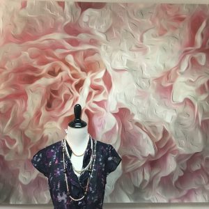 Casart Coverings_ Ann Alger White Peonies used as backdrop in retail display via Twist Boutique