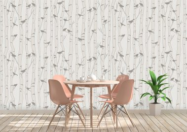 Casart Birds Birch removable wallpaper_Kitchen Table Coffee