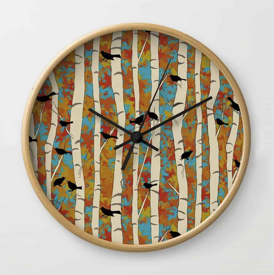 Casart Clock Bold Birds and Birch Design Spring Sing Collection