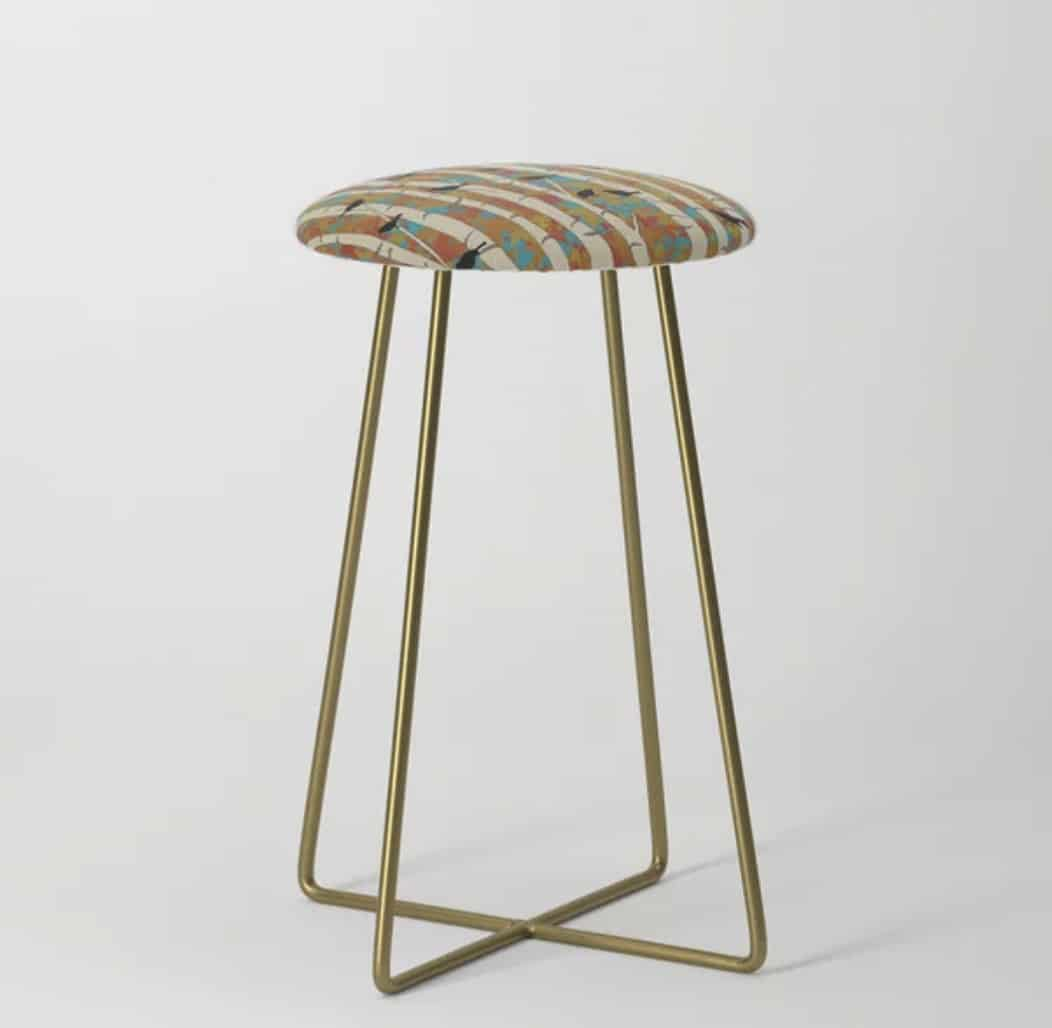 Casart Counter Stool in Bold Birds and Birch Design_Casart Decor Spring Sing Collection