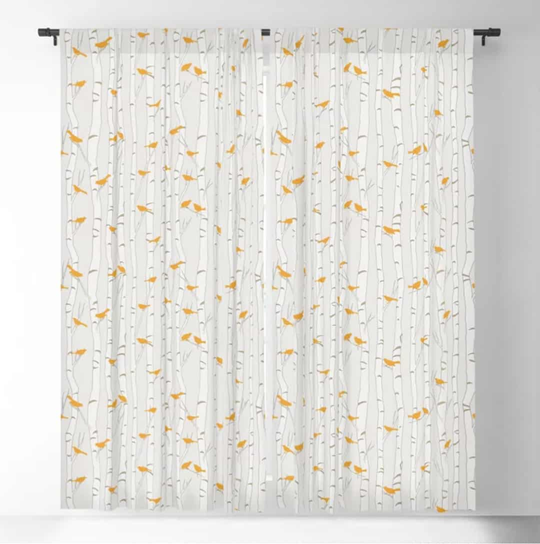 Casart Curtains Birds and Birch Spring Sing Collection