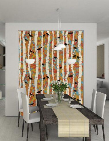 Casart coverings Birds & Birch in Modern Dining Room_temporary wallpaper