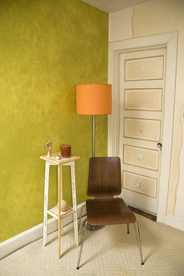 Casart Coverings_Lime Colorwash_578x864 Rm View_temporary wallpaper