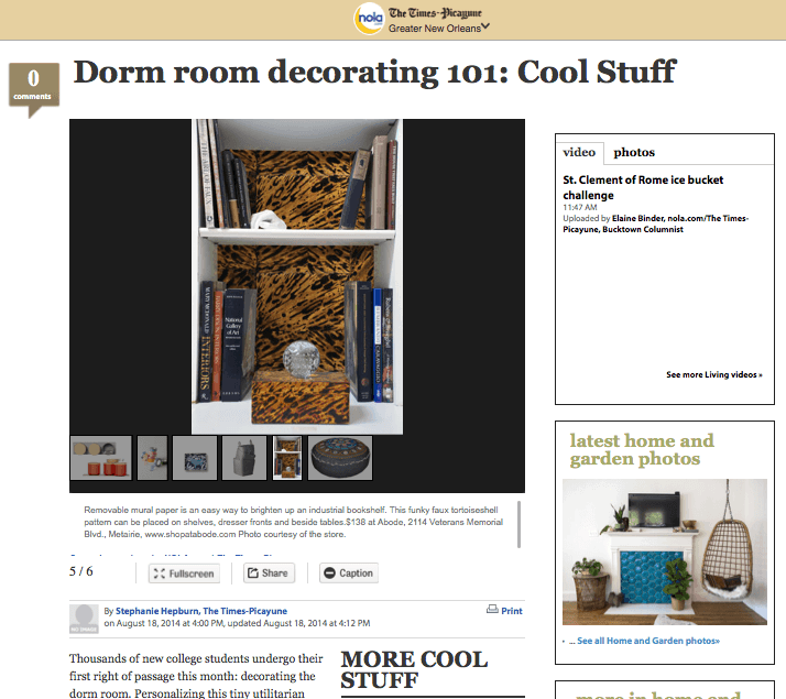 Casart coverings_Dorm Room Decorating_NOLA press