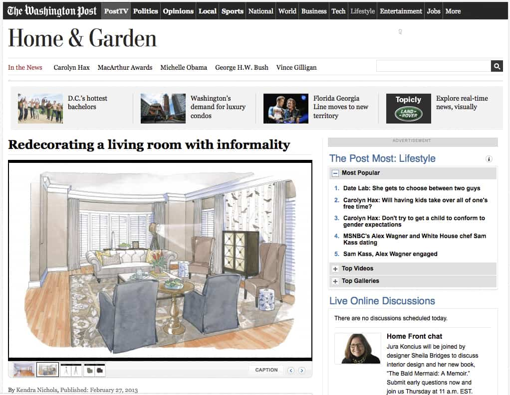 Casart Coverings removable wallpaper Birds Birch in Washington Post House Calls