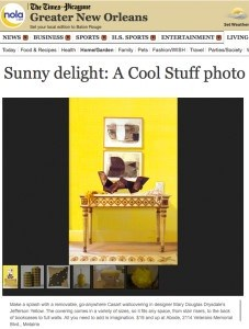 Times Picayune - Cool Stuff Sunny Delight Mary Douglas Drysdale Signature yellow for Casart coverings_press