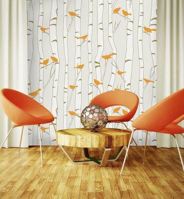 Casart coverings Orange Birds & Beige Birch in Modern Furniture Room_temporary wallpaper