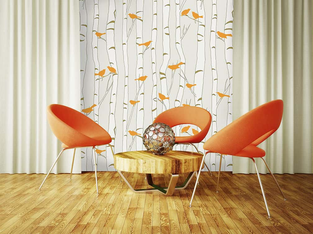 Casart Coverings Orange Birds Beige Birch In Modern Furniture Room Temporary Wallpaper
