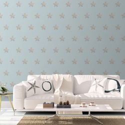 Casart Starfish removable wallpaper with white sofa coastal interior