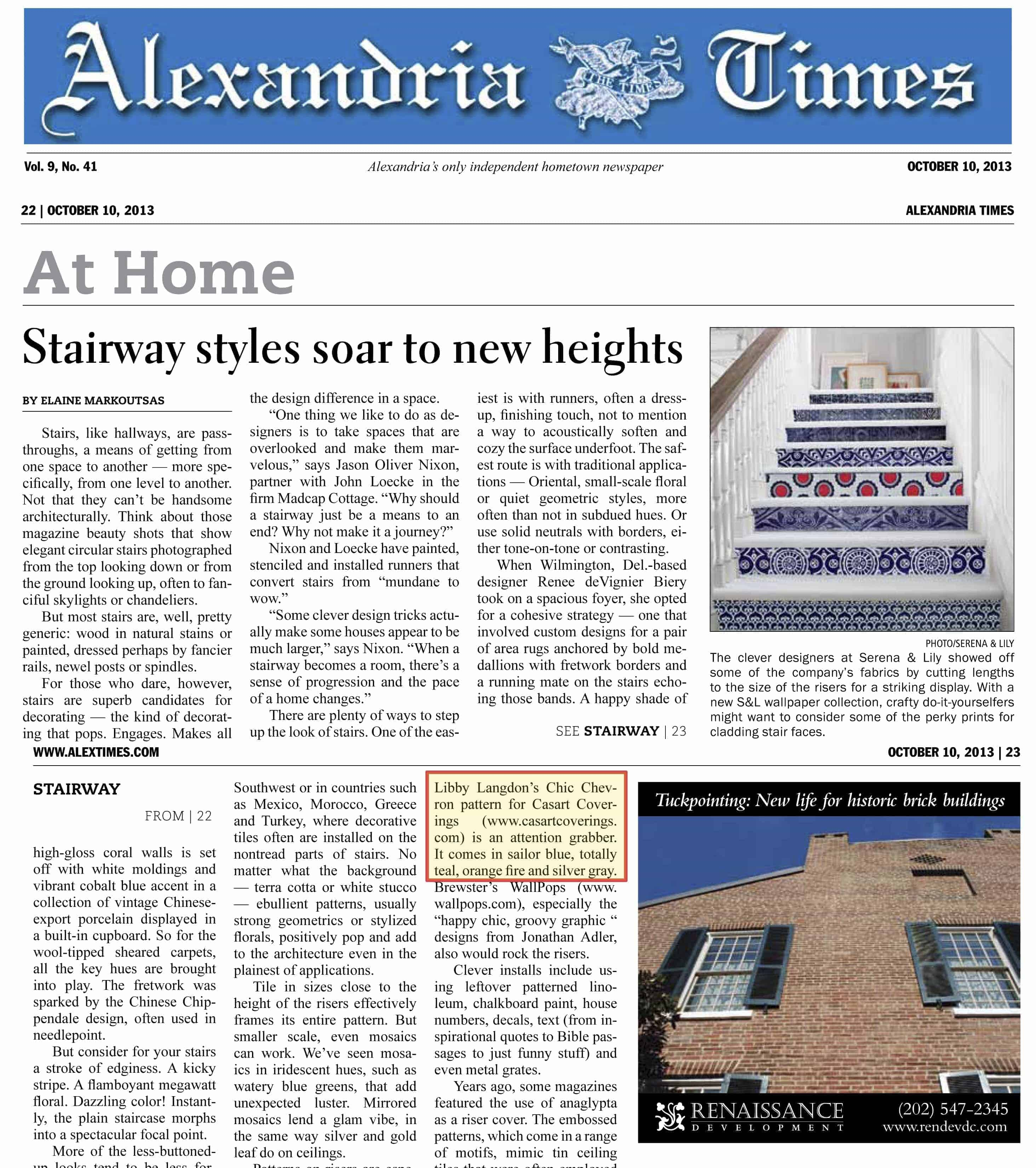 Casart coverings removable wallpaper featured in Alexandria Times