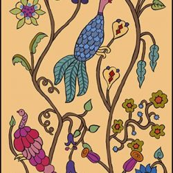 Casart Coverings Kristin Nicholas Garden Birds Maize Mural_self-adhesive wallpaper